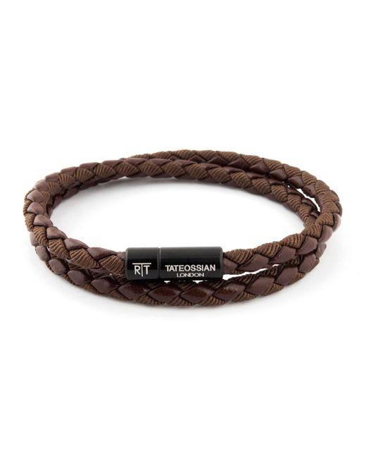 Tateossian - Brown Chelsea Leather Double-wrap Bracelet - Lyst
