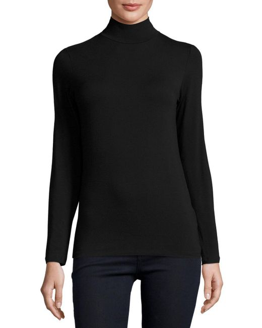 Neiman Marcus - Black Soft Touch Mock Turtleneck Top - Lyst
