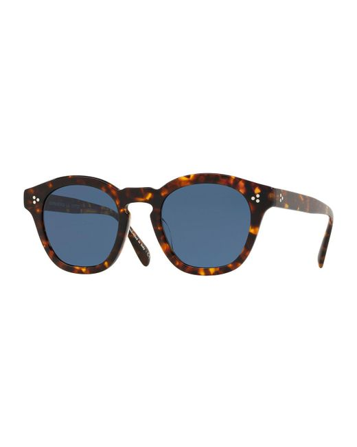 6bb84324bf6b Oliver Peoples - Brown Men s Boudreau La 48 Round Acetate Sunglasses for Men  - Lyst