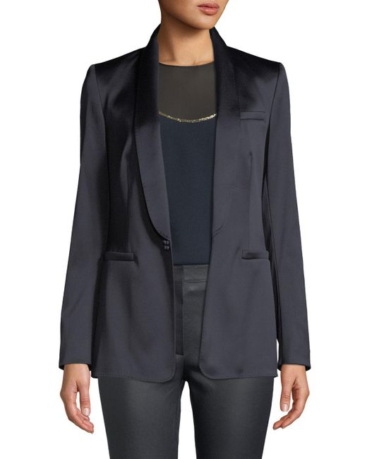 ESCADA - Blue Jewel One-button Shawl-collar Duchess Satin Jacket - Lyst