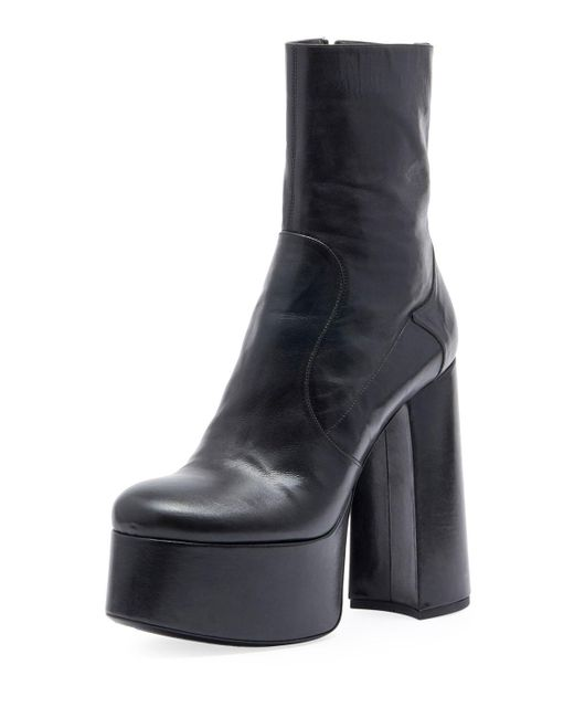 Saint Laurent - Women's Billy Platform Leather Boots - Black - Size 38.5 (8.5) - Lyst