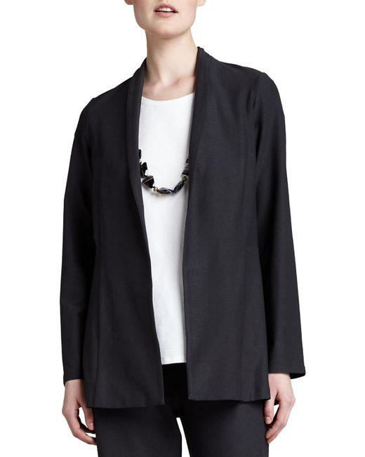 Eileen Fisher - Black Long Washable Crepe Shawl-collar Jacket - Lyst