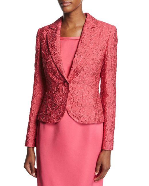 ESCADA | Pink Floral Matelasse One-button Blazer | Lyst