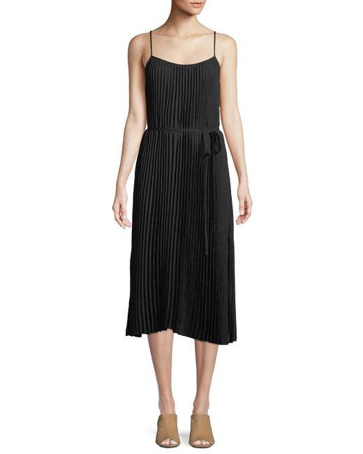 Vince - Black Pleated Cami Midi Dress - Lyst