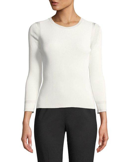 Giorgio Armani - White 3/4-sleeve Viscose Knit Top - Lyst