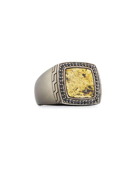John Hardy - Metallic Men's Batu Classic Chain Silver Signet Ring With Black Sapphires for Men - Lyst