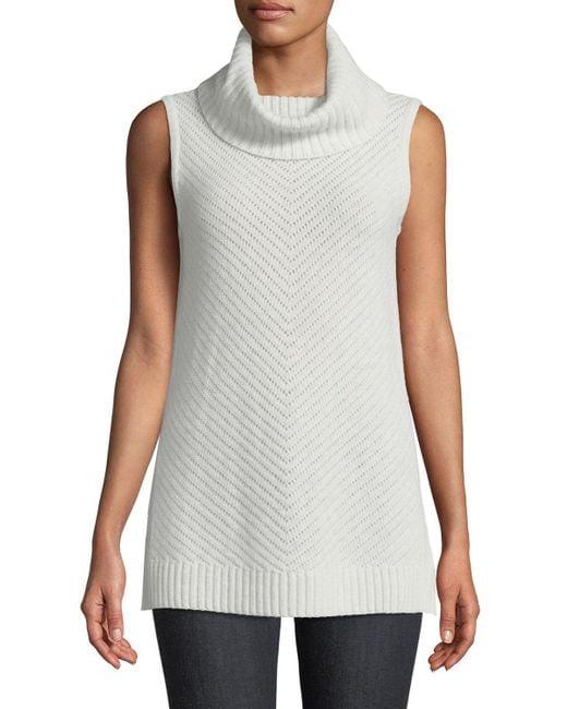 Neiman Marcus - Gray Diagonal Ribbed Cashmere Turtleneck Tunic - Lyst