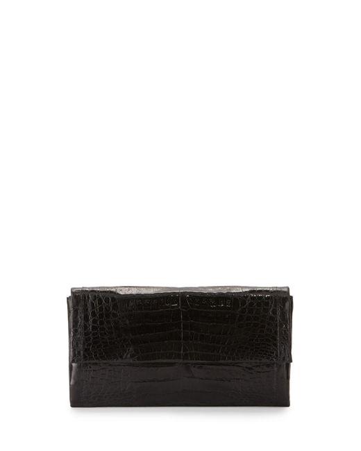 Nancy Gonzalez - Black Simple Flap Crocodile Clutch Bag - Lyst