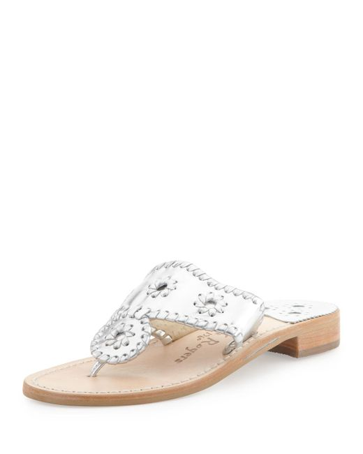 Jack Rogers - Metallic Palm Beach Whipstitch Thong Sandal - Lyst