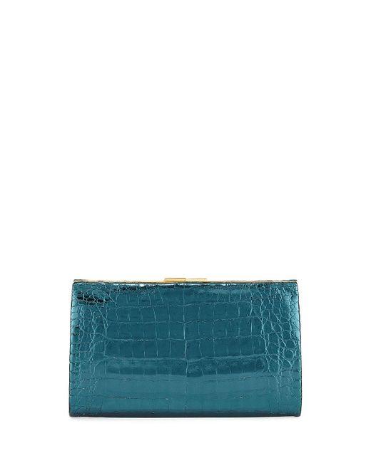 b5b8586d2125 Nancy Gonzalez - Blue Colette Crocodile Slim Exposed-frame Clutch Bag - Lyst