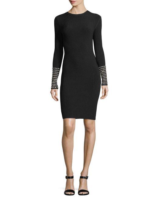 Alexander Wang | Black Embellished Long-sleeve Dress | Lyst