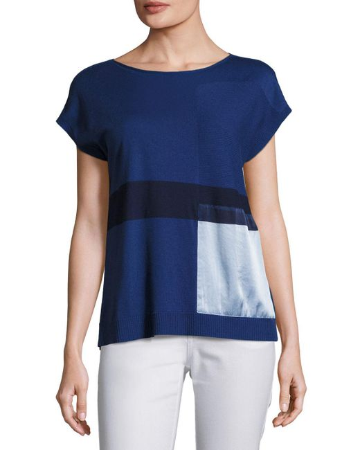 Lafayette 148 New York | Blue Short-sleeve Bateau-neck Sweater W/ Silk Panel | Lyst