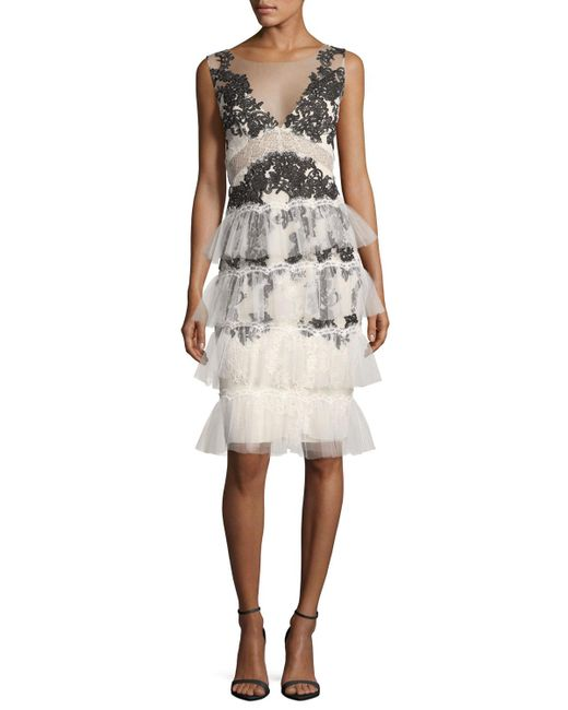 Notte by Marchesa | White V-neck Embroidered Lace Tiered Cocktail Dress | Lyst