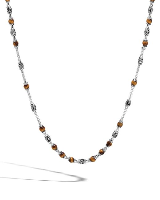 John Hardy - Brown Classic Chain Men's Tiger Eye Bead Necklace for Men - Lyst