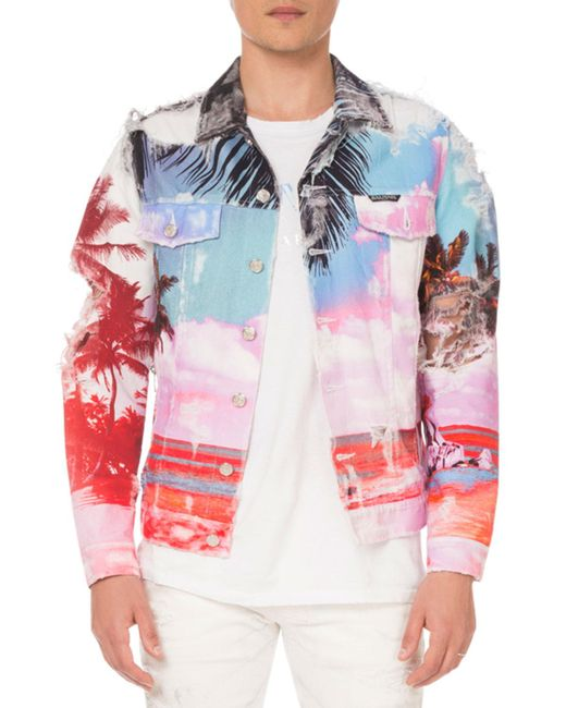 Balmain Blue Men's Graphic-print Canvas Jacket for men