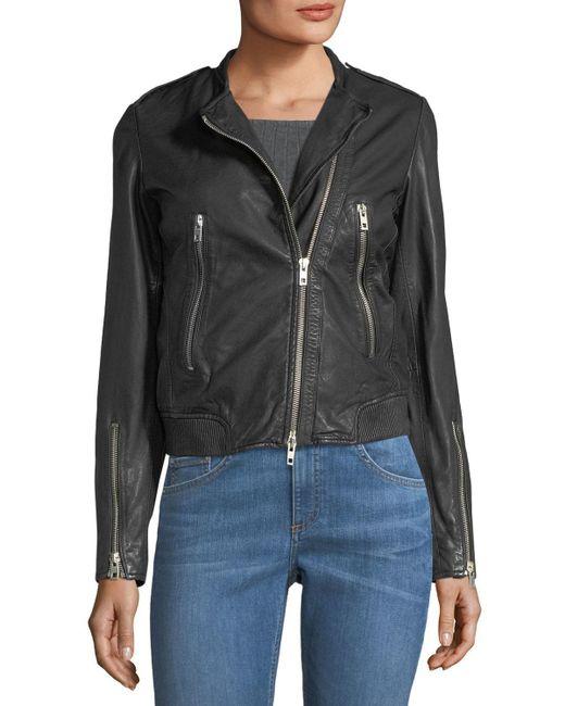 Rag & Bone - Black Lyon Washed Leather Moto Jacket - Lyst