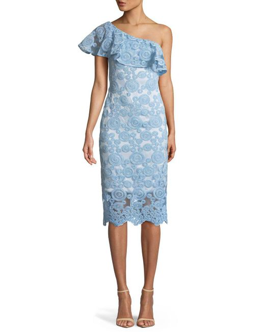 THEIA - Blue Flounce Ruffle One-shoulder Dress W/ Circle Embroidery - Lyst