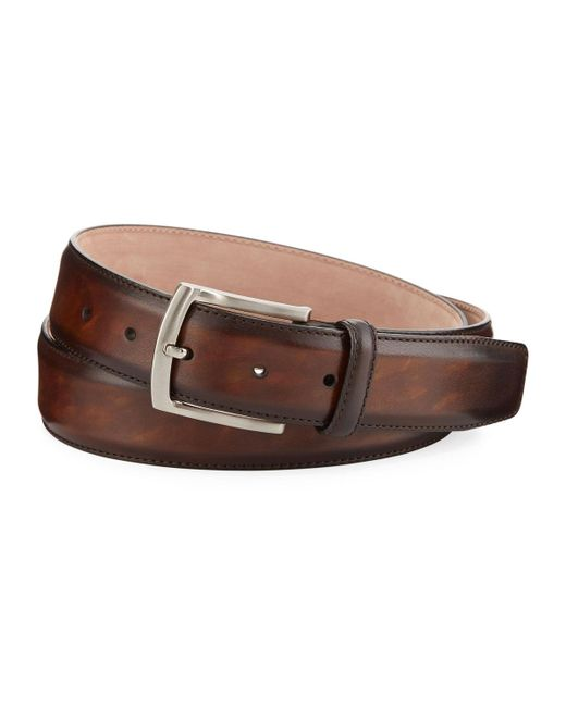 Neiman Marcus - Brown Arcade Square-buckle Calf Leather Belt for Men - Lyst