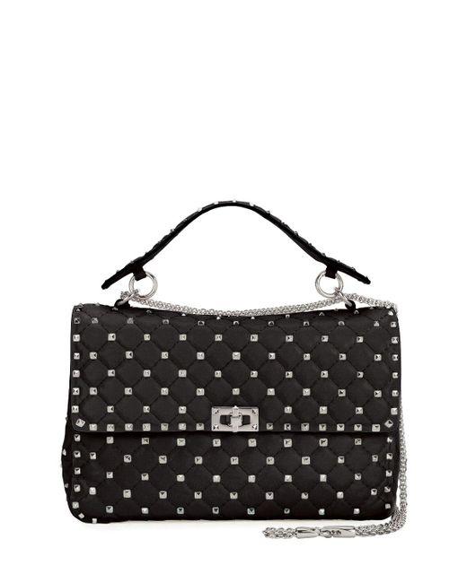 Valentino   Black Rockstud Large Quilted Shoulder Bag   Lyst