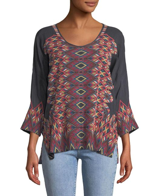 Johnny Was - Multicolor Moni 3/4-sleeve Embroidered Blouse - Lyst
