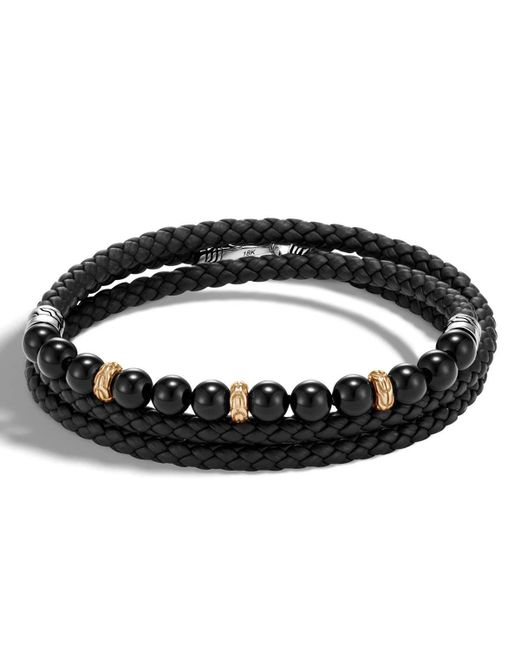 John Hardy | Black Men's Classic Chain Woven Leather & Bead Triple-wrap Bracelet for Men | Lyst
