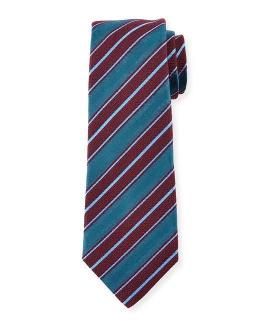 Kiton | Blue Woven Textured-stripe Silk Tie for Men | Lyst