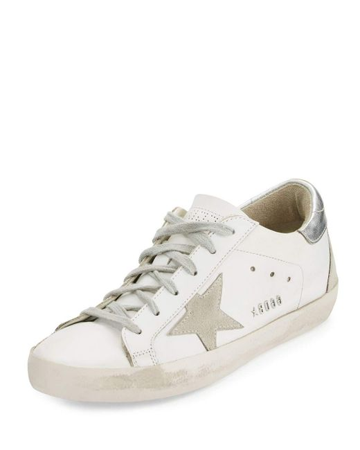 Golden Goose Deluxe Brand - White Distressed Leather Low-top Sneakers - Lyst