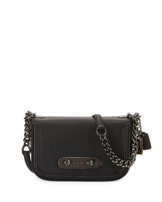 COACH - Black Swagger 20 Leather Shoulder Bag - Lyst