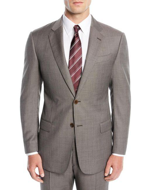 Emporio Armani Gray Men's Micro-textured Two-piece Suit for men