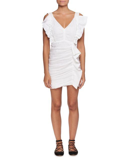 Étoile Isabel Marant - White Topaz V-neck Sleeveless Ruched Short Dress - Lyst