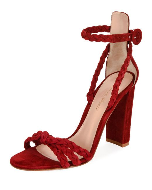 Gianvito Rossi - Red Braided Suede 105mm Sandal - Lyst
