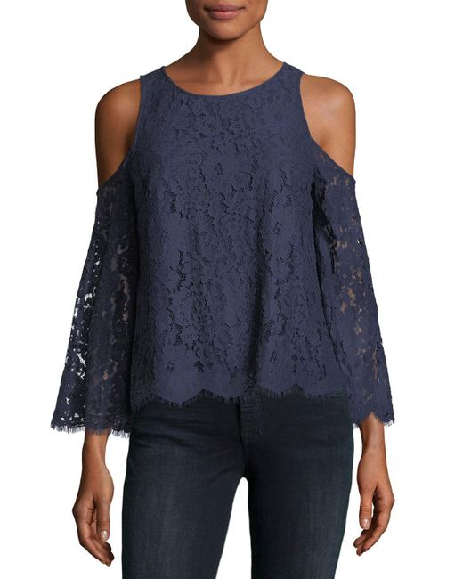 Joie | Blue Abay Lace Cold-shoulder Top | Lyst