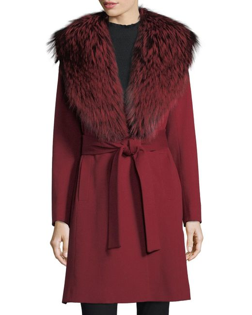 Fleurette - Red Wrap Coat With Fox Collar - Lyst