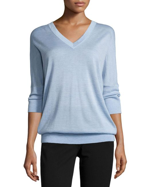 Derek Lam - Blue 3/4-sleeve V-neck Sweater Chambray - Lyst