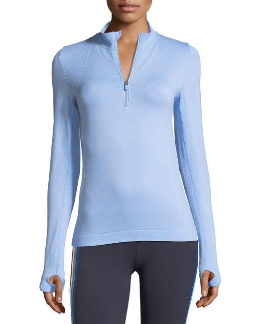 Tory Sport - Blue Seamless Quarter-zip Long-sleeve Pullover Top - Lyst