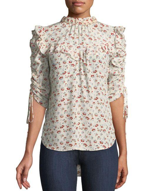 Veronica Beard - White Howell Floral-print Silk Ruffle Top - Lyst