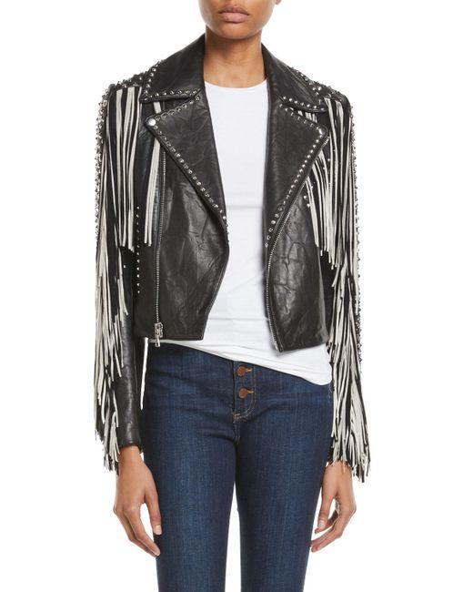 Alice + Olivia - Black Cody Fringe Leather Moto Jacket - Lyst