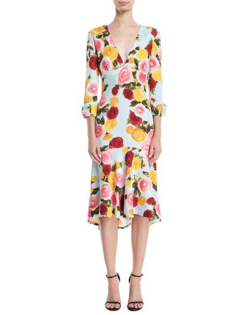 Naeem Khan - Blue Deep-v Long-sleeve Floral-print Midi Dress - Lyst