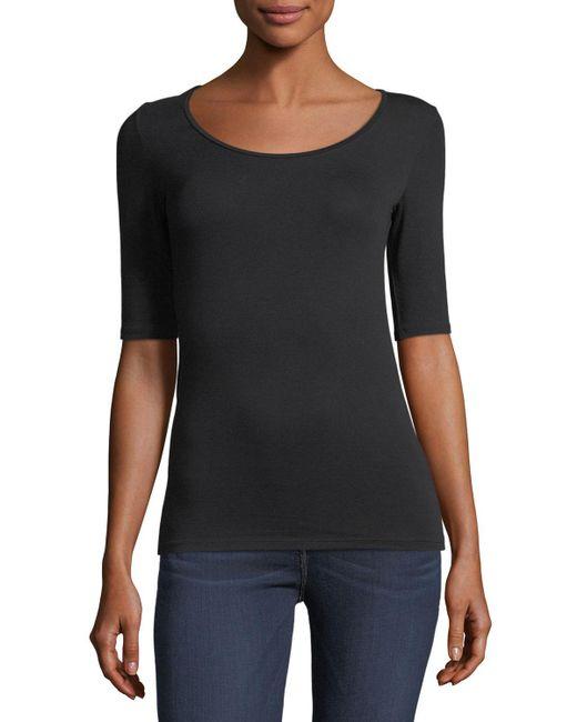 Neiman Marcus - Black Soft Touch Half-sleeve Scoop-neck Top - Lyst