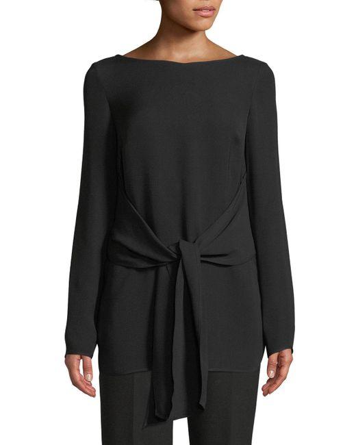 St. John - Black Long-sleeve Tie-waist Georgette Top - Lyst