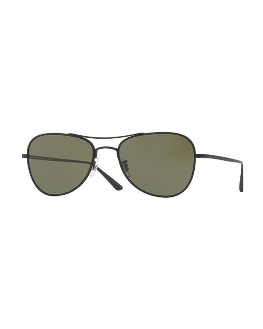 Oliver Peoples - Black Executive Suite 53 Monochromatic Aviator Sunglasses - Lyst