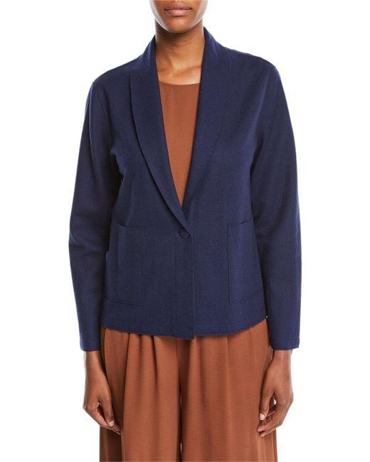 Eileen Fisher - Blue Boiled Wool Jersey Shawl-collar Jacket - Lyst