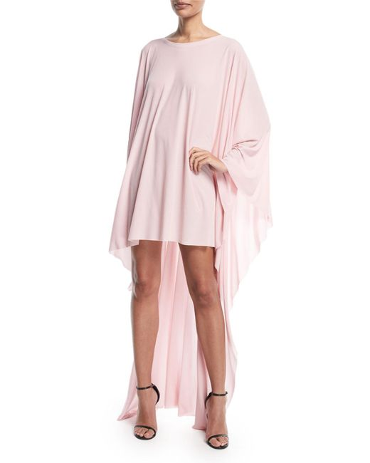 Norma Kamali - Pink High-low Round-neck Poncho Dress - Lyst