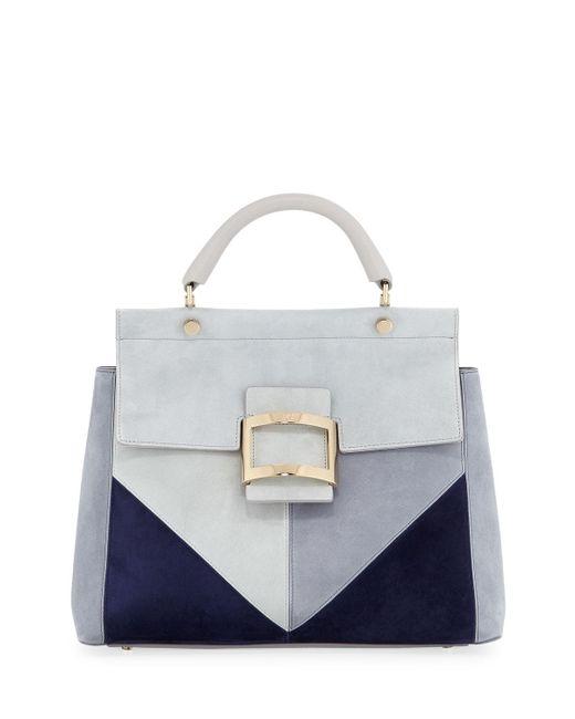 Roger Vivier - Blue Viv Cabas Small Patchwork Graphic Satchel Bag - Lyst