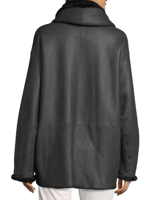 Vince | Black Shawl Collar Reversible Shearling Coat | Lyst