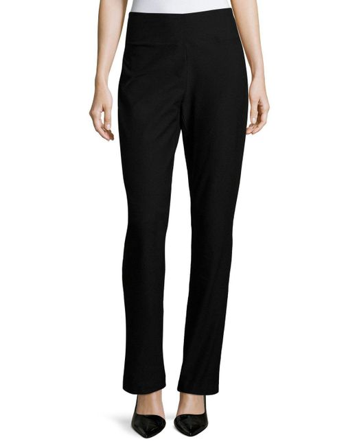 Eileen Fisher | Black Stretch Crepe Boot-cut Pants | Lyst
