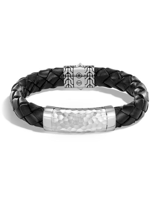 John Hardy - Black Men's Large 12mm Classic Chain Woven Leather Bracelet for Men - Lyst