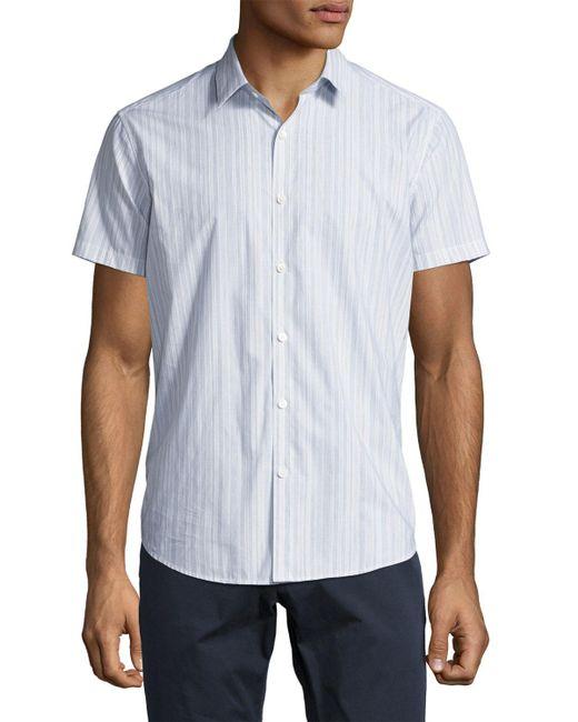 Theory - Blue Zack S. Linen-cotton Multi-stripe Short-sleeve Sport Shirt for Men - Lyst