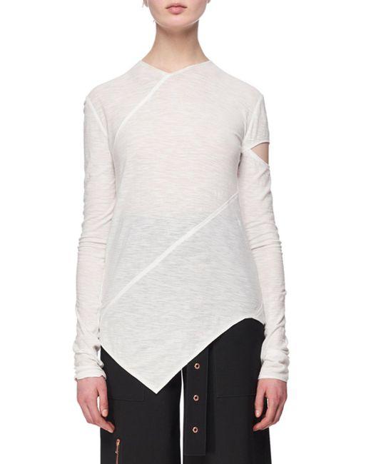 Proenza Schouler - White Long-sleeve Spiral Tissue Jersey T-shirt - Lyst