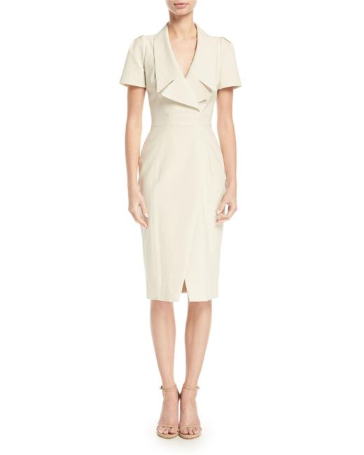 Zac Posen - White Collared Short-sleeve Cocktail Dress W/ Asymmetrical Slit - Lyst